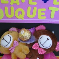Bear Dolls with Ferrero Rocher Chocolate in Mini Flower Bouquet