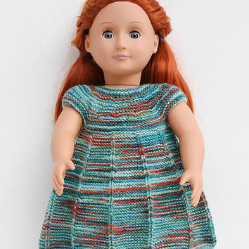 Teal Cap Sleeve Dress for 18 Inch Doll, Hand Knitted Dress with Hand Painted Yarn, Shades of Teal with Orange and Red, Handmade Doll Clothes