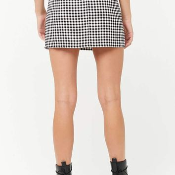 Gingham Print Mini Skirt