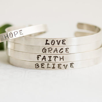 Silver Custom Word Bracelet, Favorite Word Cuff, Inspirational Words Jewelry