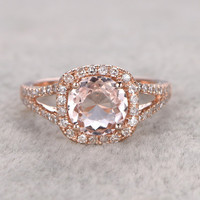 7mm Morganite Engagement ring Rose gold,Diamond wedding band,14k,Round Cut,Gemstone Promise Bridal Ring,split shank,fashion Design,Halo