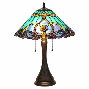 "KEEGAN Tiffany-style 2 Light Victorian Table Lamp 16"" Shade"
