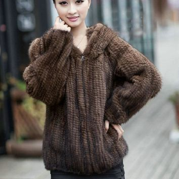 Free shipping Real Knitted Mink Fur Women Coats Fashion Long Sleeve Design Female Fur Winter Jacket With Hood Mink Coat