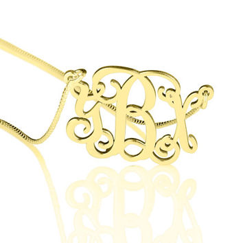 Split Chain Gold plated Monogram Necklace, monogram gifts, personalized gifts