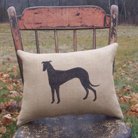 Greyhound Silhouette Decorative Burlap Pillow  by North Country Comforts / Dog Pillow  / Burlap Pillow