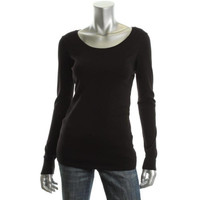 Eileen Fisher Womens Long Sleeves Scoop Neck T-Shirt