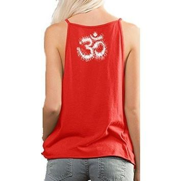 Yoga Clothing for You Ladies Tie Dye OM Spaghetti Tanktop Shirt - Neck Print