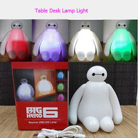 Color Changes Cute Big Hero 6 Baymax USB LED Table Desk Lamp Light For Gift 15cm