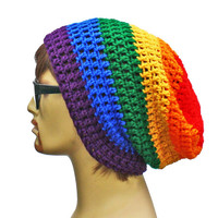 Rainbow Beanie - Slouch - Mens or Unisex- Ultimate Slacker Striped Beanie Hat- Pride