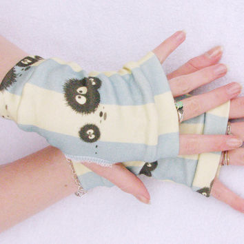 Soot Sprites Totoro fingerless gloves Spirited Away Blue Stripes