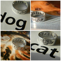 pet memorial -dear angel dog ,dear angel cat, choose one aluminum wrapped ring 1/4 inch