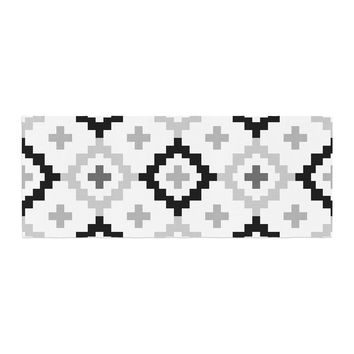 "Pellerina Design ""Black White Moroccan"" Grey Geometric Bed Runner"