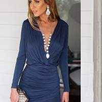 Dark Blue Asymmetric Shoulder Ruffle Deep V-neck Mini Dress