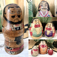 Japanese Nesting Doll, Rare Complete Set Group of Seven Male Wooden Dolls, Matryoshka Dolls, Japan Folk Art. Samurai Warriors.