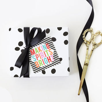 Cute Christmas Gift Tags Personalized Holiday Tag Girly Christmas Favor Tags Custom Paper Gift Tag Colorful Black and White Stripe Gift Wrap