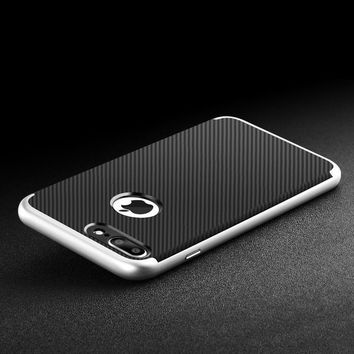 Luxury Electroplating Hybrid Shockproof Carbon Fiber Pattern Bumper Hard Slim Case Cover for iPhone 7 7 Plus