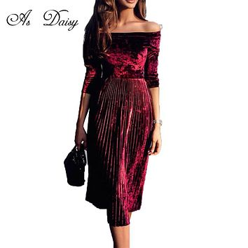 As Daisy Slash Neck Velvet Winter Dress 3 Colors Elegant Pleated Dress Women Lady Party Dresses Elegant Evening Vestidos DR17195