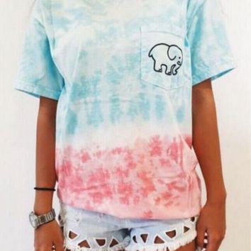 LMFHD2 Tie Dye CUTE BABY ELEPHANT SUPREME HIGH QUALITY PRINT T-SHIRT TOP