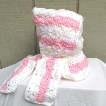 Childs hooded scarf - 12 to 24 months - Girls crochet hood - Girls accessories - Crocheted hooded scarf