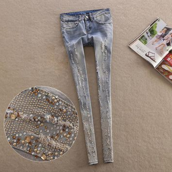 new Fashion Spring Style Jeans woman Casual skull denim Pants Ripped Beading Elastic Ladies skinny Pencil Pants