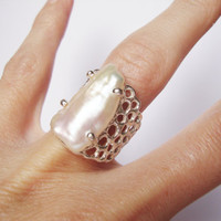 Sterling silver ring handmade with freshwater cultured biwa pearl --  adjustable --one of a kind--