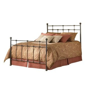 Queen size Metal Bed with Headboard and Footboard in Hammered Brown