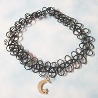 Black Cresent Moon & Star Tattoo Choker / Black Goth Kawaii, Grunge, 90s Stretchy Silver Moon Charm Tattoo Choker