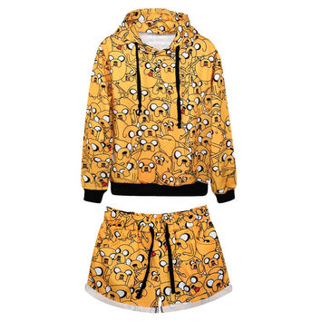 Women's All Over Print Adventure Time Collage Tracksuit Sport Suit Hoodies Sweatshirt + Pant 2pc Set Jogging Sportswear
