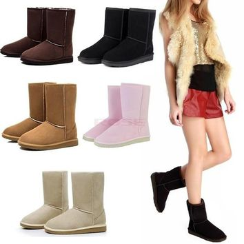 Winter Women Lady Warm Faux Suede Fur Lined Mid-calf Snow Flat Boots Shoes 18795 Women