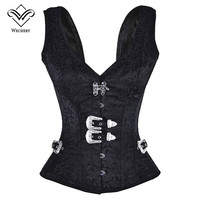 Steampunk Corset Gothic Clothing Corsets And Bustiers Black Vest 12 Steel Boned Sexy Plus Size Bustier korsett for Women Harness