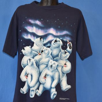 90s Coca Cola Polar Bears Northern Lights t-shirt Large