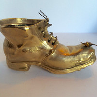 French Petite Choses Candle Holder or Planter Brass Boot Gold Shoe Butterfly