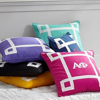 Greek Ribbon Trim Monogram Pillow Cover