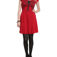 Teenage Runaway Red Ribcage Slash Dress