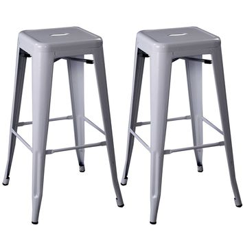 Set of 2 Metal Steel Bar Stools Vintage Antique Style Counter Bar Stool 3 Color