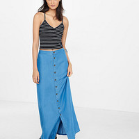high rise button front a-line maxi skirt