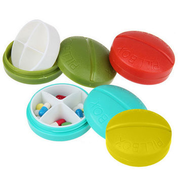 Fashion Light 4 Colors Portable Round 4 Compartment Pill Case Box Medicine Holder Organizer