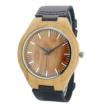 Simple Wood Watches Men's Minimalist Design Wristwatch Original Wooden Bamboo Watch Male Sports Clock