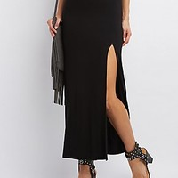 SLIT STRETCHY KNIT MAXI SKIRT