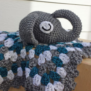 Elephant lovey - turquoise and white  baby blanket - elephant amigurumi - crocheted baby blanket - baby shower gift - gender neutral blanket