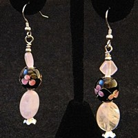 Rose Quartz Black Floral Glass Bead Earrings with Silver Accents