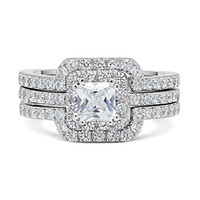 Cut Center Stone Cubic Zirconia Silver Triple Band Engagement Ring & Wedding Band