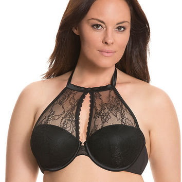 Satin & lace halter bra by Cacique | Lane Bryant
