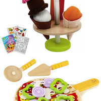 Hape 3133 Ice Cream Treats & 3129 Homemade Pizza Play Food with Coloring Book