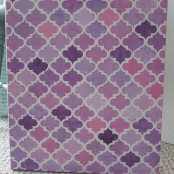 Quatrefoil art 16 X 20,purple & pink art,Pattern art,handmade,boho chic decor,stencil nursery art, gallery wall,teen/tween decor, canvas art