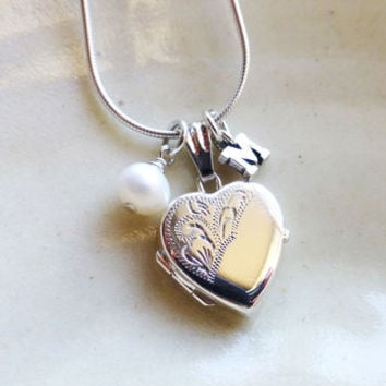 Silver Heart Locket With Silver Letter