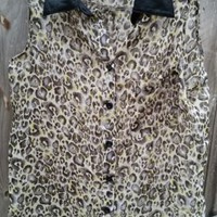 Wet Seal Women's Small Faux Leather Leopard Sheer Sleeveless Top Shirt Blouse