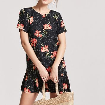 Floral & Dot Print Shift Dress