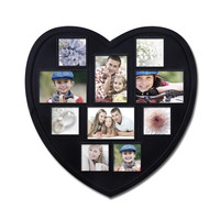 Decorative Black Wood Heart-Shaped Wall Hanging Picture Photo Frame
