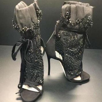 Elegant Black Lace Peep Toe Ankle Boots Black Crystal Cover Lace Up High Heel Boots Ankle Bandage Boots